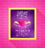 婚礼在框架的邀请设计 免版税库存照片