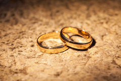 婚礼在石头的金戒指 库存图片