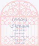 婚礼在笼子的形状的邀请卡片 免版税库存图片