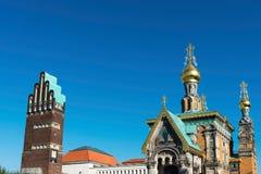 婚礼塔和教会,达姆施塔特 免版税库存图片