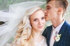 婚礼夫妇亲吻的被盖的面纱 婚姻的浪漫夫妇互相拥抱 有新郎的秀丽新娘 免版税库存图片