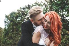婚礼夫妇在一个美丽的公园 库存图片