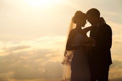婚礼夫妇在晚上 平安的浪漫片刻 免版税库存图片