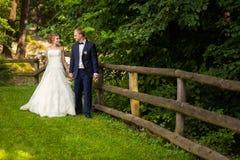 婚礼夫妇在篱芭附近的森林里 免版税库存照片