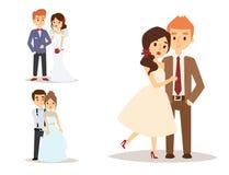 婚礼夫妇导航白礼服和人的美丽的式样女孩衣服新娘例证的 皇族释放例证
