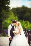 婚礼夫妇拥抱 免版税图库摄影
