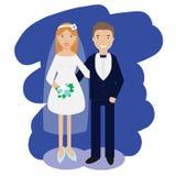 婚礼夫妇汇集 微笑的新娘和新郎愉快的对导航例证 库存图片