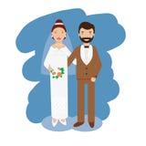 婚礼夫妇汇集 微笑的新娘和新郎愉快的对导航例证 免版税库存照片