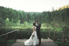 婚礼夫妇,新娘,摆在码头的新郎 免版税图库摄影