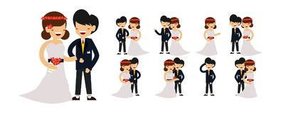 婚礼字符逗人喜爱的夫妇传染媒介 皇族释放例证
