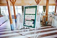婚礼客人numer的名单计划者他们在婚礼聚会制表 免版税图库摄影