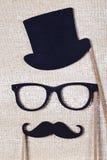 婚礼扶植髭和玻璃 免版税库存照片