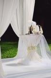 婚礼排列在庭院里 免版税库存照片