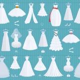 婚礼新娘白色礼服模型高雅庆祝传染媒介例证无缝的样式背景 库存照片