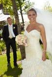 婚礼日的美丽的妇女 免版税库存照片