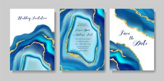 婚礼时尚geode或大理石模板,艺术性的盖子设计,五颜六色的纹理现实背景 时髦样式 向量例证