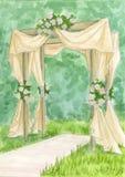 婚礼曲拱 水彩剪影 免版税库存照片