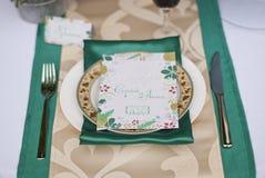 婚礼桌安排豪华窗框 免版税库存照片