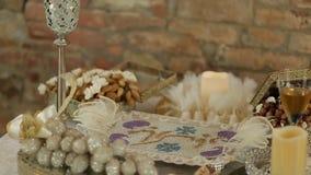 婚礼桌的富有的装饰 没有人民 股票录像