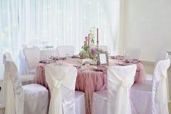婚礼桌装饰 事件党或招待会的美好的集合 库存照片