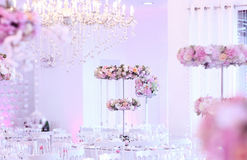 婚礼桌装饰 免版税库存照片