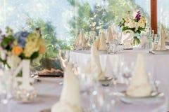 婚礼桌装饰 库存照片