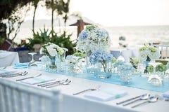 婚礼桌设定 库存照片