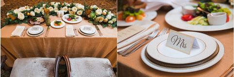 婚礼桌设置集合 免版税库存照片
