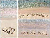 婚礼消息拼贴画在沙子写的 免版税库存图片