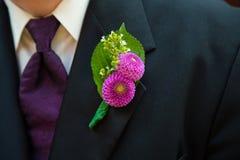 婚礼的新郎Boutineer 库存照片