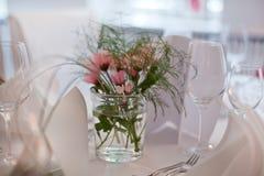 婚礼的表设置 免版税库存照片