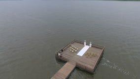 婚礼码头的顶视图 股票视频