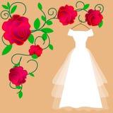 婚礼礼服传染媒介 平的设计 有遮掩的典雅的白色垂悬在挂衣架的新娘的礼服和弓 准备对婚姻cer 库存例证