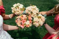 婚礼礼服和女傧相红色的穿戴的新娘拿着韦德 图库摄影