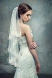 婚礼礼服和面纱的新娘 免版税库存照片