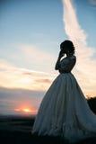 婚礼礼服的女孩在摆在为摄影师的公园 晴朗的天气,夏天 免版税库存图片