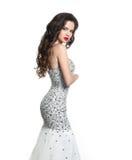 婚礼礼服的深色的新娘 有构成和lo的典雅的夫人 库存照片