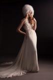 婚礼礼服的美丽的少妇 库存照片