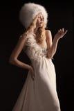 婚礼礼服的美丽的少妇 库存图片