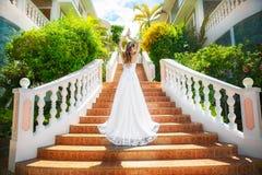 婚礼礼服的美丽的新娘与站立在的长的火车 库存照片