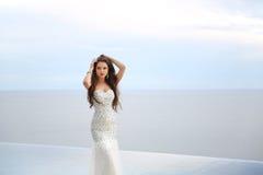 婚礼礼服的,室外画象美丽的新娘 深色的ele 免版税库存图片