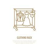 婚礼礼服,人衣服,哄骗在挂衣架象,衣物机架线商标的衣裳 服装汇集的平的标志 免版税库存图片