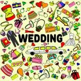 婚礼线艺术设计传染媒介例证 库存照片