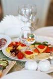 婚礼膳食和鱼在杂货 免版税库存照片