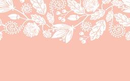 婚礼花和叶子水平无缝 免版税库存照片
