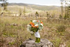 婚礼花束包括的Echeveria,大丽花、小苍兰、微型八仙花属、毛茛属和银Brunia 免版税库存照片