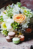 婚礼花束和圆环集合细节 库存照片