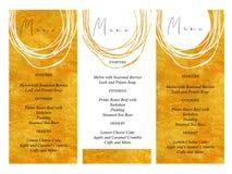婚礼菜单模板有金黄手拉的纹理背景和金线设计传染媒介 库存例证