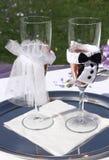 婚礼葡萄酒杯 库存照片