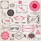 婚礼葡萄酒框架和设计要素 库存照片